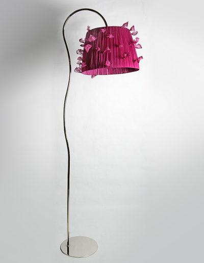 Lámpara Kika curva cromo pantalla nudos