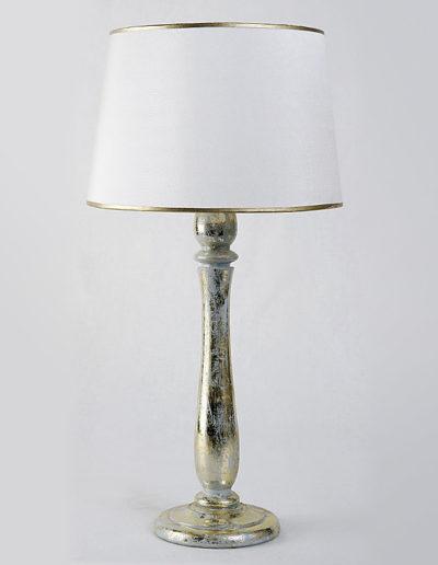 Lámpara torneada con folia plata