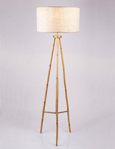 Lámpara trípode bambú