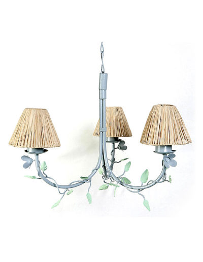 Lámpara hojas tres luces pátina