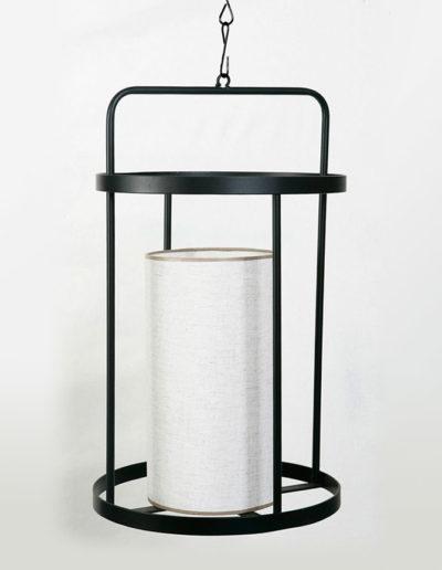 Lámpara fanal metal negro