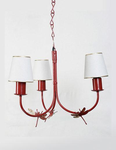 Lámpara libélula tres luces pátina roja