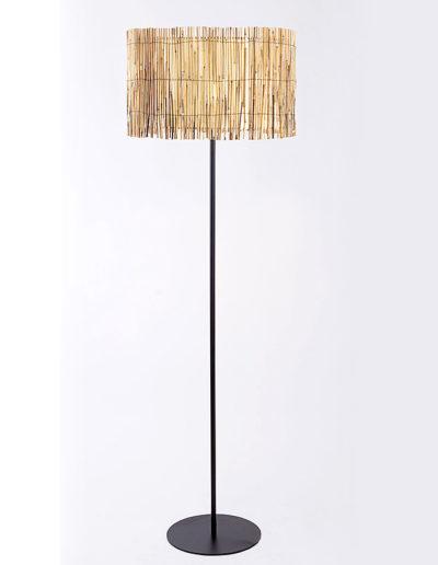 Lámpara Merlín negra pantalla bambú